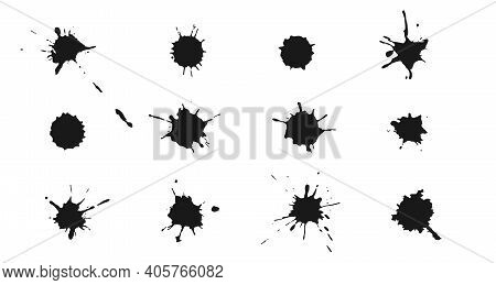 Vector Ink Splashes And Drops. Set Of Handdrawn Blobs, Blots And Spatters