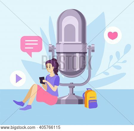 Young Girl Doing Live Streaming. Video Blogging Concept. Social Media Network Blogger. The Girl Lead
