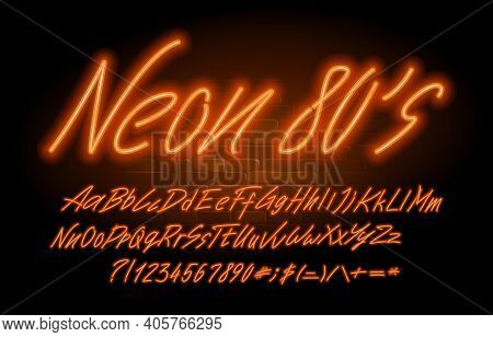 Neon 80's Font. Orange Neon Color Letters, Numbers And Symbols. Uppercase And Lowercase. Stock Vecto