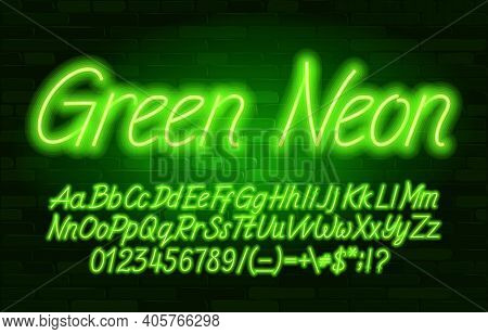 Green Neon Alphabet Font. Script Neon Color Letters, Numbers And Symbols. Uppercase And Lowercase. S