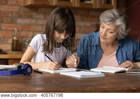 Close Up Mature Grandmother Helping To Little Granddaughter With Assignment