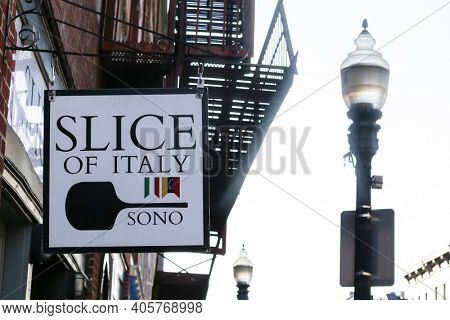 NORWALK, CT, USA - MAY 31, 2020: Store sign from pizza place in Norwalk