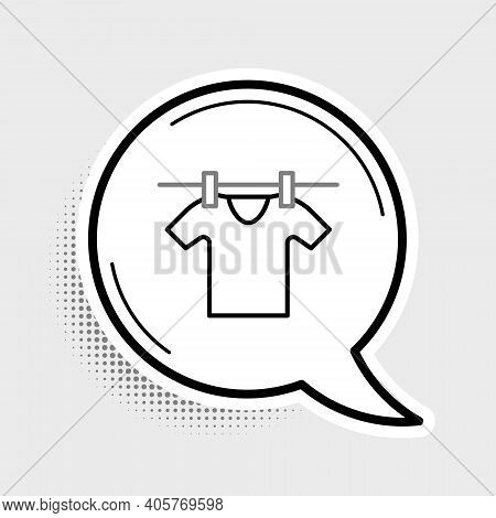 Line Drying Clothes Icon Isolated On Grey Background. Clean Shirt. Wash Clothes On A Rope With Cloth