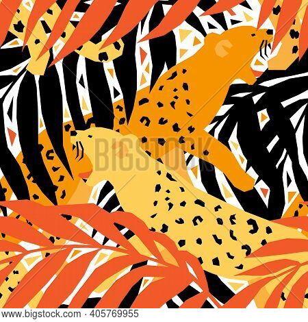 Seamless Pattern With Wild Animals In Geometric Style. Vector Illustration With African Safari. Kids