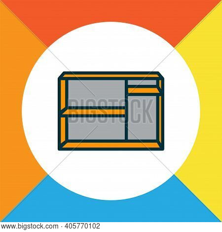 Shelving Unit Icon Colored Line Symbol. Premium Quality Isolated Dresser Element In Trendy Style.
