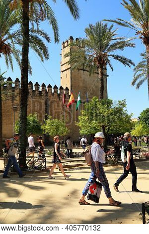 Cordoba, Spain - May 23, 2017: This Is A Square With Palm Trees In Front Of The Entrance To The Alca