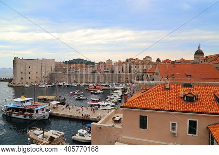 Dubrovnik, Croatia - September 8, 2016: This Is A View Of The Old Historic Port And Fort St. John Fr