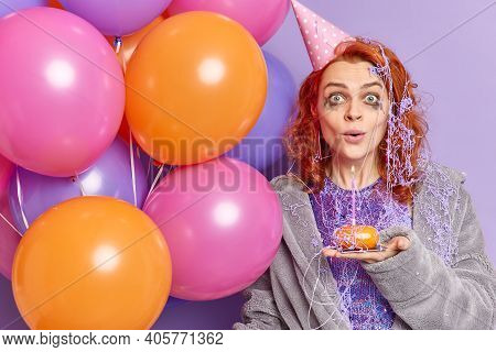 Surprised Redhead Woman With Spoiled Makeup After Celebrating Anniversary Stares Shocked At Camera H
