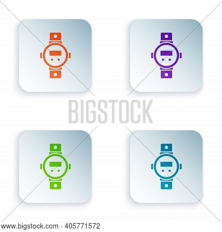 Color Diving Watch Icon Isolated On White Background. Diving Underwater Equipment. Set Colorful Icon