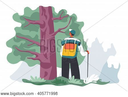 Male Character Hiking In Woods Alone, Traveler