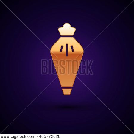 Gold Pastry Bag For Decorate Cakes With Cream Icon Isolated On Black Background. Kitchenware And Ute
