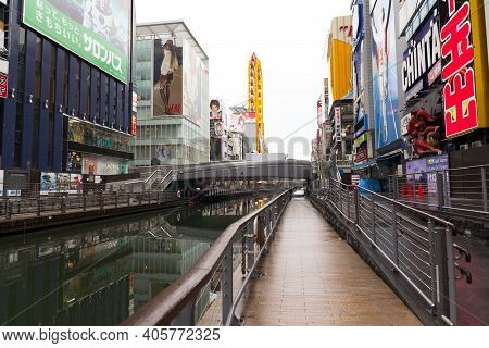 Osaka,japan - April 20,2015 :dotonbori Canal Is A Popular Nightlife And Entertainment Area Character