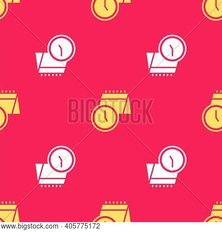 Yellow Calendar And Clock Icon Isolated Seamless Pattern On Red Background. Schedule, Appointment, O