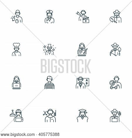 Profession Icons Line Style Set With Magician, Archaeologist, Teacher And Other Gardener Elements. I