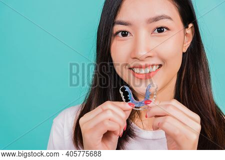 Teeth Retaining Tools After Removable Braces, Portrait Young Asian Beautiful Woman Smiling Holding S