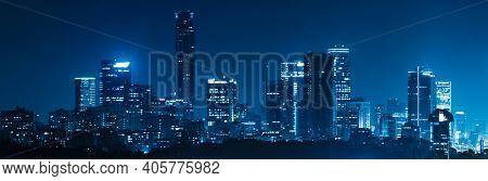 Panorama Of Tel Aviv City And Ayalon Freeway At Night - View of Tel Aviv at night.