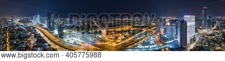 Tel Aviv Cityscape Aerial View at Night, Panoramic Shot Of Tel Aviv City