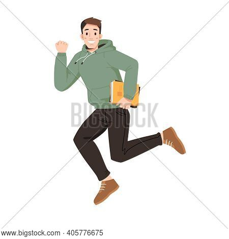 Happy Guy Merrily Leaps Or Jumps With Fists Up. Man In Sweater And Trousers, Leaping Or Jumping From