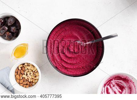 Raw Vegan Beetroot Cake With Ingredients For Cooking On White Table. Gluten Free, Sugar Free Vegan F