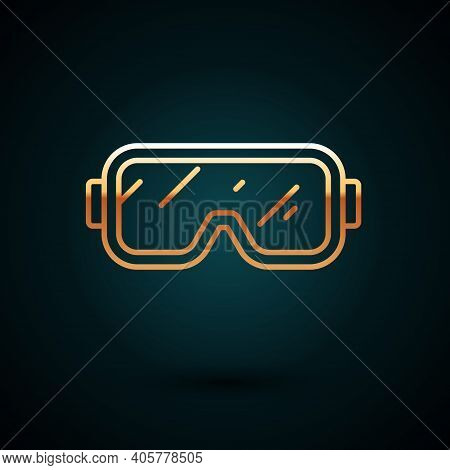 Gold Line Diving Mask Icon Isolated On Dark Blue Background. Extreme Sport. Diving Underwater Equipm