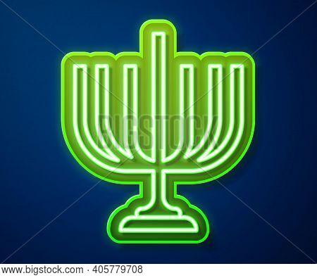 Glowing Neon Line Hanukkah Menorah Icon Isolated On Blue Background. Hanukkah Traditional Symbol. Ho