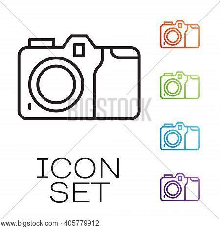 Black Line Photo Camera Icon Isolated On White Background. Foto Camera Icon. Set Icons Colorful. Vec