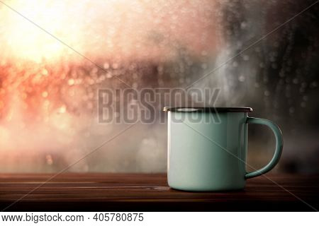 Morning Drink On Rainy Day. Hot Coffee Cup By Glass Window In House. Happiness, Calm Or Relaxing Min