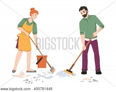 Housework, Couple Sweeping, Cleaning In Room, Woman Sweeps And Man Mops The Floor Isolated. Vector H