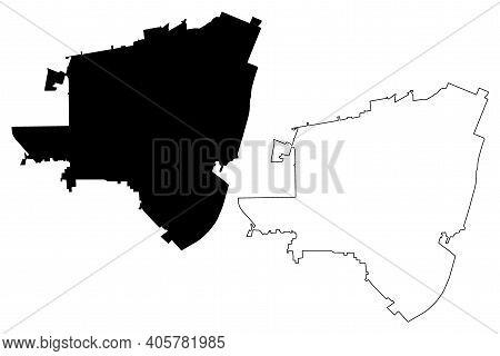 El Monte City, California (united States Cities, United States Of America, Usa City) Map Vector Illu