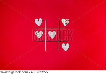 Valentines Tic Tac Toe Game, Isolated On Red Background