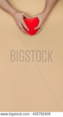Lgbt Concept. Vertical Banner With Men Hands Holding Red Heart