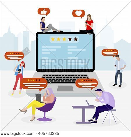 Feedback And Reviews Concept In The Internet. Vector People Write Feedback And Choice Ranks, Satisfa