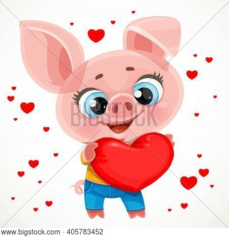 Cute Cartoon Baby Piglet Hugs With Love A Big Soft Red Heart Isolated On White Background
