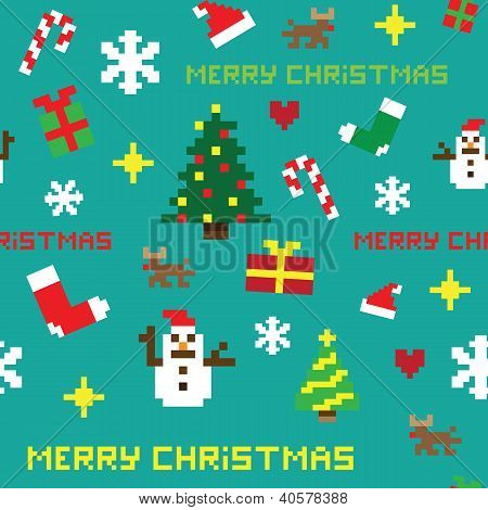retro seamless pixel game Christmas vector pattern