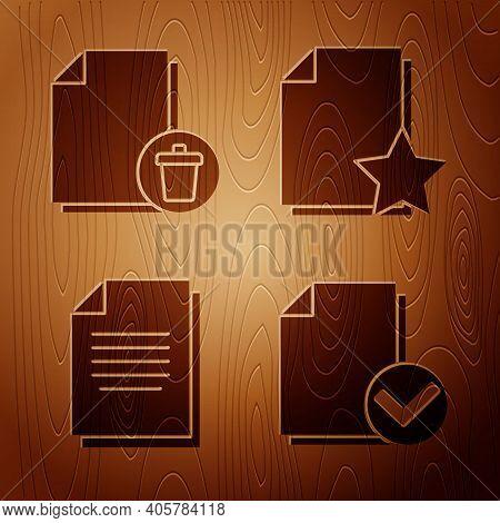 Set Document And Check Mark, Delete File Document, Document And Document With Star On Wooden Backgro
