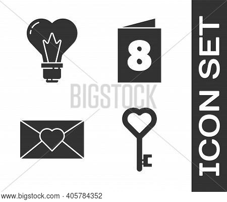 Set Key In Heart Shape, Heart Shape In A Light Bulb, Envelope With 8 March And Greeting Card With 8