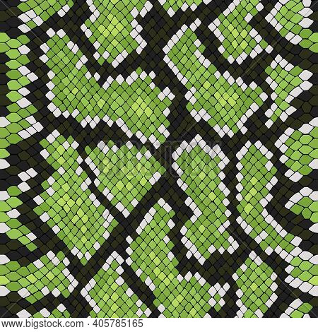 Vector Snake Skin, Reptile Camouflage Pattern For Fabric Design. Animal Print, Seamless Python Textu