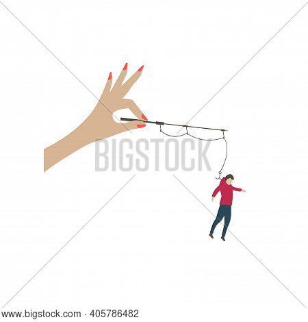 Woman Catching Man On Hook. Flirt Concept
