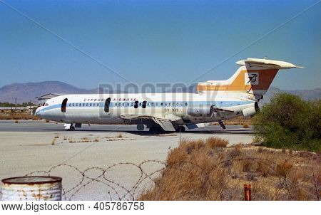 Nicosia, Cyprus - September 25, 1997: Abandoned And Destroyed Hawker Siddeley Trident Of Cyprus Airw