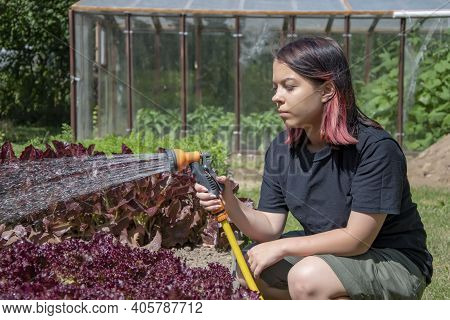 Portrait Of A 17-year-old Teenage Girl Watering A Vegetable Garden With Water From A Watering Hose.