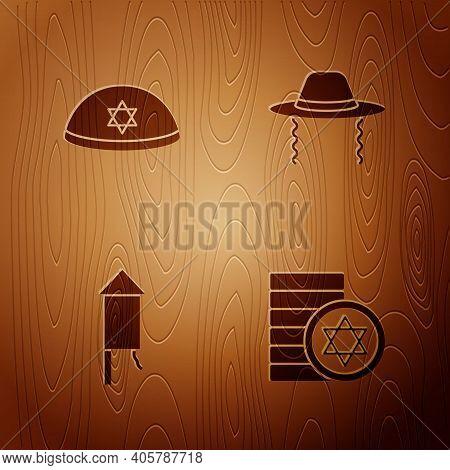 Set Jewish Coin, Kippah, Firework Rocket And Orthodox Jewish Hat On Wooden Background. Vector