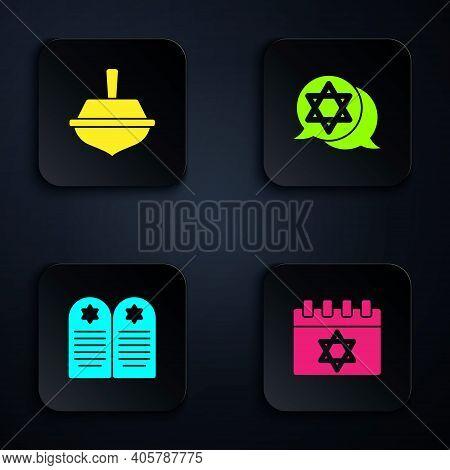 Set Jewish Calendar, Hanukkah Dreidel, Tombstone With Star Of David And Star David. Black Square But