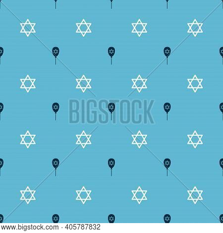 Set Balloon With Star Of David And Star David On Seamless Pattern. Vector