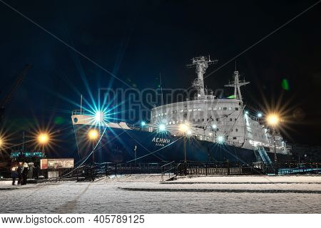 Murmansk, Russia - January 02, 2021: The First Nuclear-powered Icebreaker Ship Lenin At A Pier At Wi
