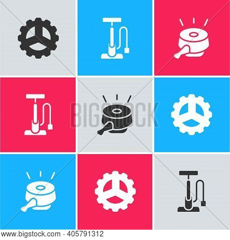 Set Bicycle Sprocket Crank, Air Pump And Bell Icon. Vector