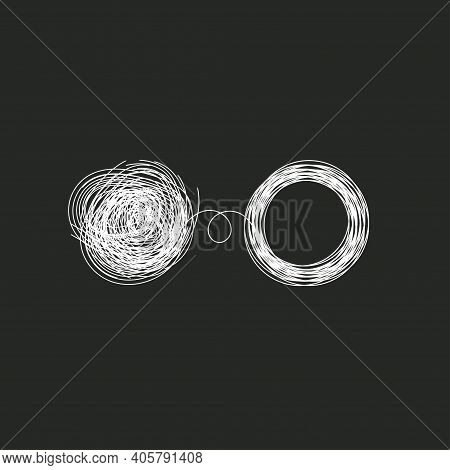 Problem Solving Concept. Tangled And Unraveled Tangle. Coaching Logo. Vector Abstract Illustration