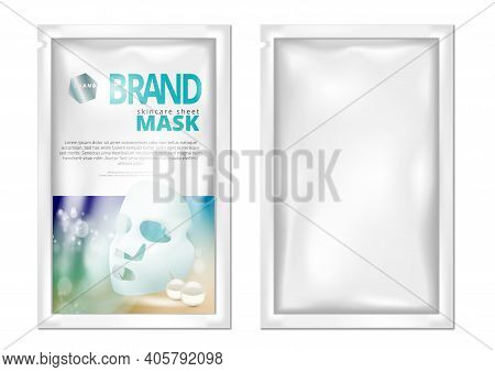 Facial Sheet Mask Sachet Package Isolated On White