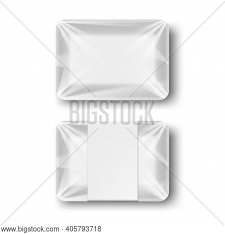White Blank Styrofoam Plastic Food Tray Container