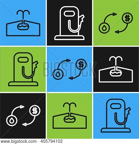 Set Line Oilfield, Oil Exchange And Petrol Or Gas Station Icon. Vector
