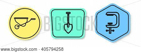 Set Line Wheelbarrow, Shovel And Clamp And Screw Tool. Colored Shapes. Vector